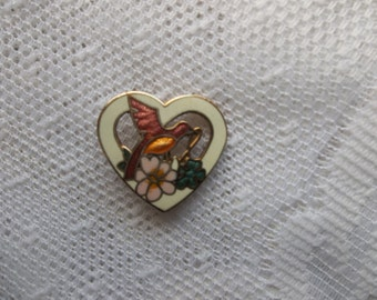 Heart Brooch with Bird and Flowers