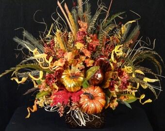 Contact me to order, Fall Arrangement,Luxury Arrangement,Fall Foliage Centerpiece,Rustic Faux Flower Arrangement,Thanksgiving Centerpiece