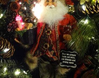 Wine Santa Lighted Christmas Wreath,Wine Christmas Wreaths,Lighted Christmas Wreath,Wine Room Decoration,Tuscan Wine Wreath,Wine Ornaments