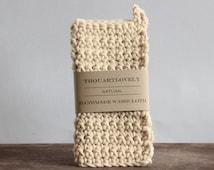 Chunky Washcloth  Handmade Crochet Natural