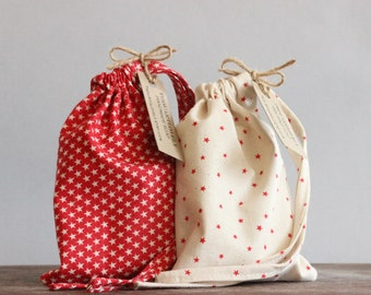 Starry Pouches| Set of Five Cotton Gift Bags| Favour Bags