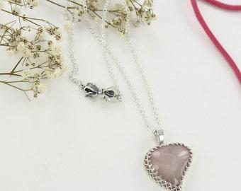 Quartz necklace - Pink ribbon - Breast cancer foundation donation - Heart necklace - Pink heart