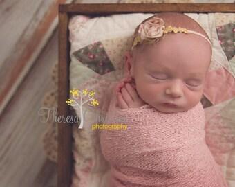 Rose and gold vintage inspired headband. Newborn photo prop. Newborn headband.