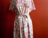 70s Floral Dress, Plus Size, Vintage, Size 22, Cape Dress, Pink, White, ILGWU, Womens Vintage Clothing, Size 2X, Plus Size Vintage