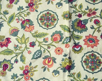 Vintage barkcloth fabric Jacobean floral and medallions green orange on light chartreuse 4 pillow-size pieces