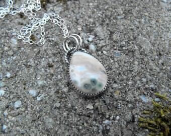 Ocean Jasper Necklace Sterling Silver Ocean Jasper Pendant Pink Ocean Jasper Pendant