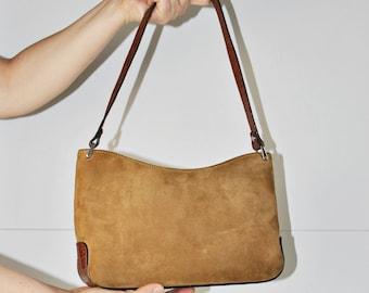Vintage Suede Leather Purse - Camel Brown Leather Handbag - Women shoulder Bag