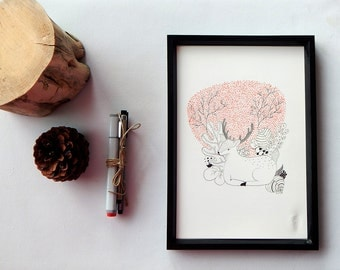 Fawn art. Fawn illustration. Marker drawing deer.  Hand drawn sitting fawn. Forest animal illustration. Animal drawing. Forest creature.