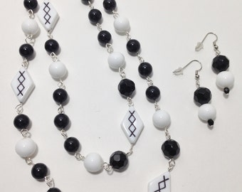 Long Necklace, Black and White, Silver, Acrylic, Glass, Continuous Strand Necklace, Earrings