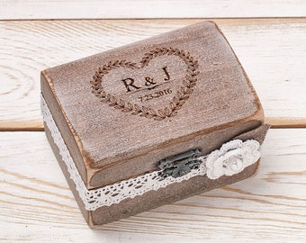 Wedding Ring Bearer Box Wedding Ring Box Rustic Ring Box Custom Wood Ring Box Rustic Wedding Box Woodland Outdoor Beach Weddings