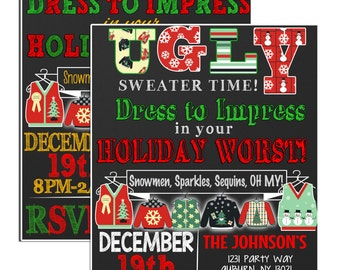 Ugly sweater Party invitation, holiday worst invite, ugly sweater party invites, modern ugly sweater invites, ugly sweater ideas, INVUGL01