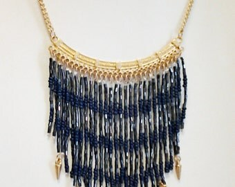 Gold Chain Dark Blue and Gray Cascade Necklace / Dark Blue and Gray Cascade Bib Necklace.