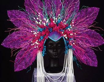 purple glitter headdress headpiece