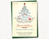 "Christmas party invitation - PRINTABLE 5""x7"", Decorate the season, holiday party, vintage, Retro invitation, Christmas tree"