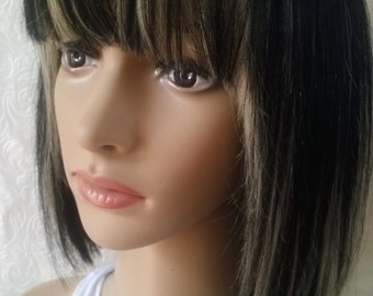 SALE! Human hair wig- black and blonde bob- full fringe, Sweetheart range, Fashion, small, hand tied parting