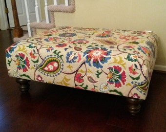 Upholstered Ottoman Coffee Table - Floral Fabric