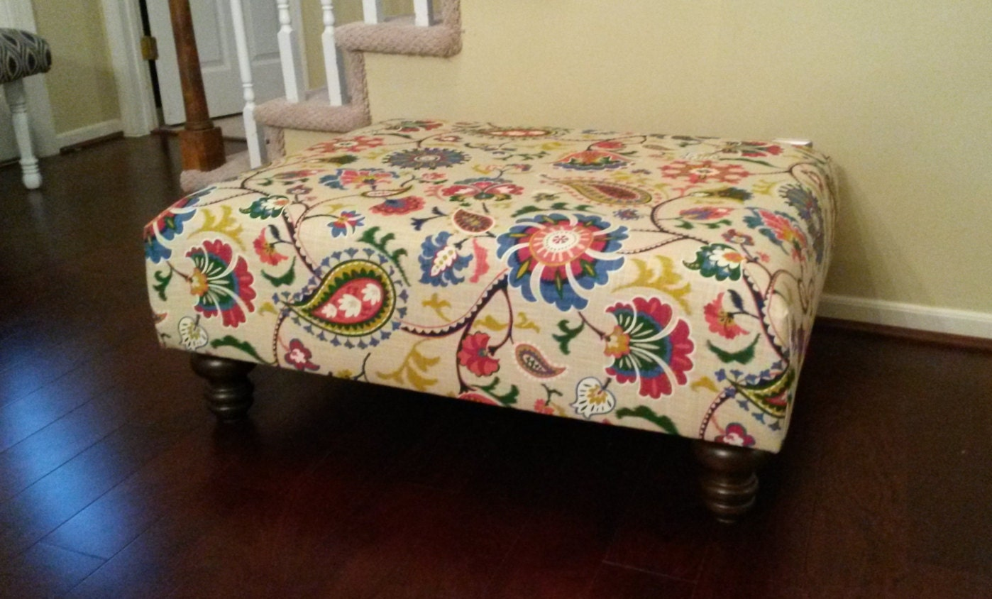 Upholstered Ottoman Coffee Table Floral Fabric