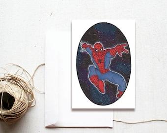 Blank Handmade Greeting Card, Spiderman Superhero, Comic Book, Marvel Comics, Unique Galaxy Watercolour Art, Handmade Card