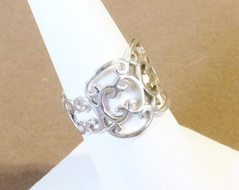 Size 8 Sterling Silver Filigree Ring