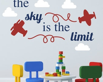 Airplane Decal - Airplane Wall Decal - Plane Decal - Plane Wall Decal - The Sky Is The Limit Quote - Boys Wall Sticker - Plane Nursery Decor