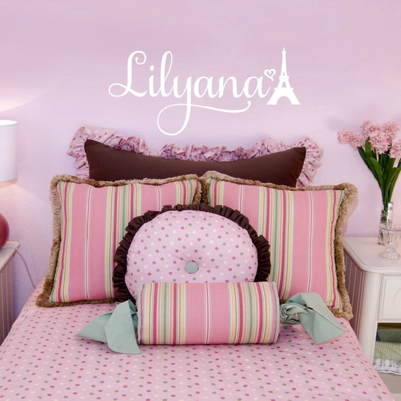 Personalized Bedroom Wall Decor : Paris bedroom decor for girls personalized vinyl name wall