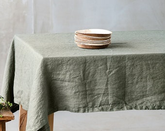 Washed linen tablecloth in forest green / Handmade linen tablecloth