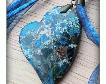 Sea Sediment Jasper Heart Necklace