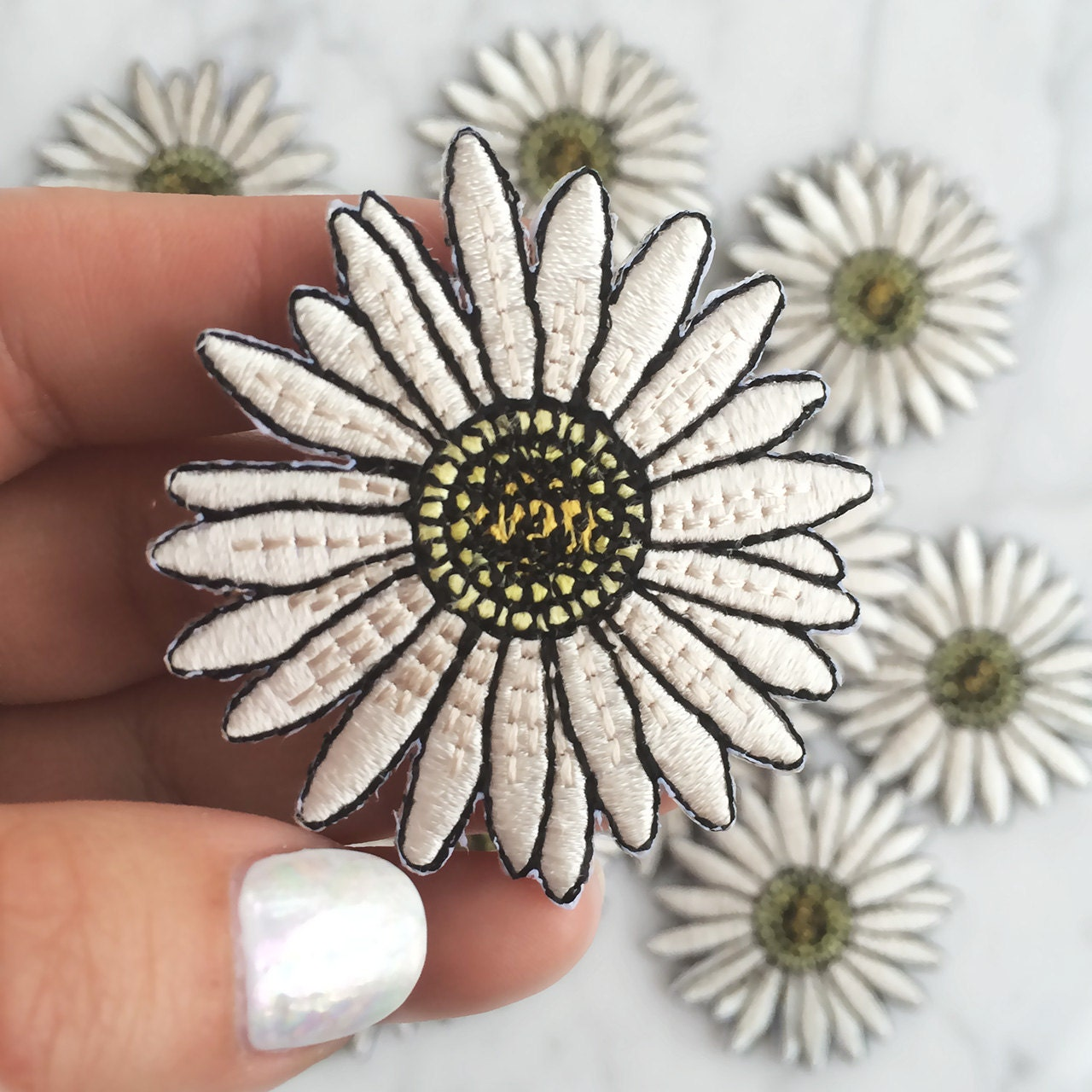 Daisy Patch Iron On Embroidered Applique By