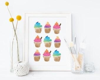 Digital print, bright watercolour ice-creams, watercolor print, bright print, summer print, colourful print, instant download