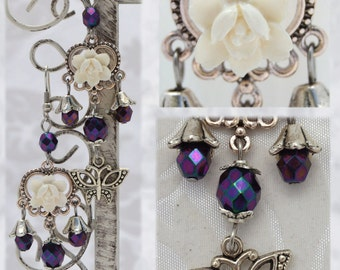 Fae Rose - Elegant victorian rose earrings - Purple, white and antique silver butterfly long dangle earrings