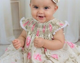 Baby Dress, Baby Dress set, Baby Girl Dress Set, Baby Bloomer Headband Set, Baby Floral Dress, Baby Girl Clothes, Baby Floral Dress, 1130