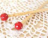 Hand Painted Red Dotty Wood Knitting Needles Size US 6 and 8; 4mm and 5mm