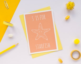 Starfish Card. Animal Alphabet Card. 100% Recycled Card & Envelope