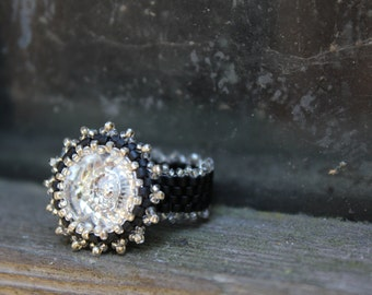 Flower crystal ring, Round, clear Swarovski crystal, Black and silver, Beaded cocktail ring, Translucent