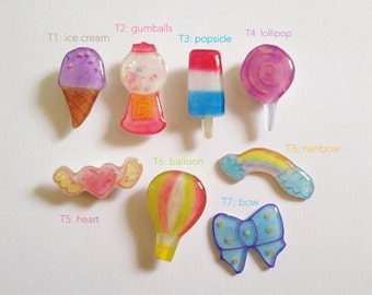 Hand Drawn Colorful Pins :Pick from Ice cream, Gumballs,Popsicle,Lollipop,Heart,Balloon,Bow,Rainbow Badge / Pin
