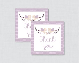 Bird Baby Shower Printable Favor Tag - Purple Birdie Baby Shower Favor Tags - Bird Baby Shower Favor Tag Thank You Tag - 0037-R