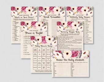 Boho Baby Shower Games Package - Seven Printable Games: Bingo, Price is Right, Purse Game, Nursery Rhyme - Bohemian Feathers Flowers 0043