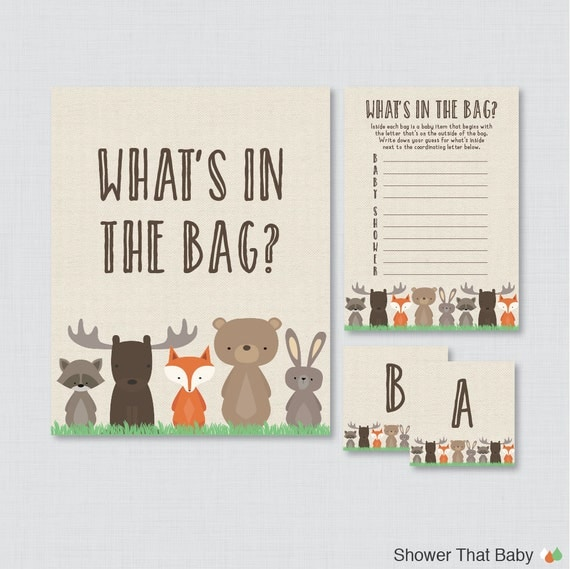 Woodland Baby Shower Bags Game Printable - Guess What's in the Bag Game -  Woodland Themed Baby Shower Bag Game Activity 0010