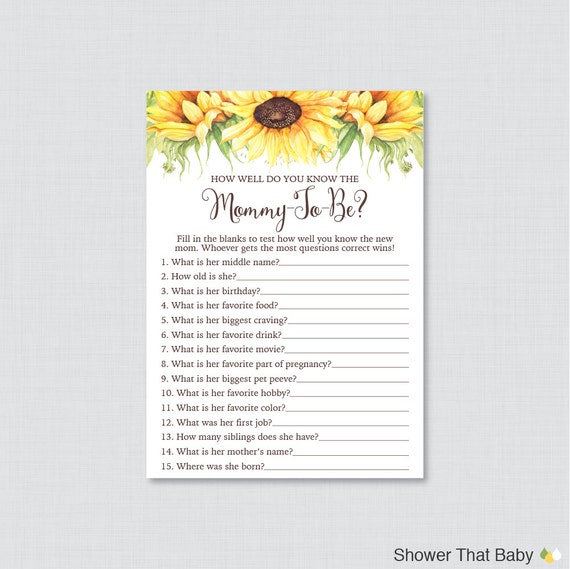 Sunflower Baby Shower Printable How Well Do You Know The Mommy