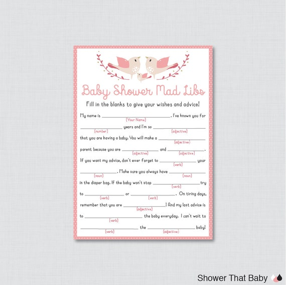 Bird Baby Shower Mad Libs Printable Baby Shower Advice Cards