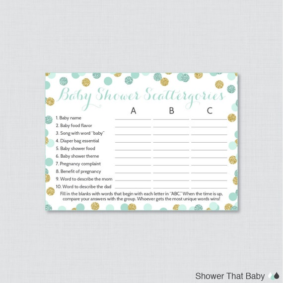 Mint And Gold Baby Shower Scattergories Game Printable