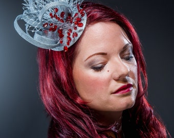 Silver and red fascinator, hatinator headpiece