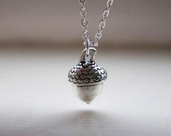 Acorn Charm Necklace -Woodland forest Acorn Charm Necklace - 3d Acorn Pendant