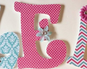 Girls wall letters, baby nursery letters, teal and pink wood letters, shower gift, personalized letters, custom letters, decorative letters