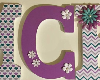 wall art letters, girls name letters, wood letters for baby nursery, girls room name letters, decorative letters, custom letter purple teal