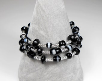Monochrome Bracelet Lampwork Bead and Seed Bead Memory Wire Multi Wrap Black and White Beaded Bangle Bracelet Black and Silver Bracelet UK