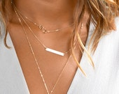 Layering Necklaces Set W. Gold Bar Necklace, Delicate Simple Layering Necklace, Sterling Silver Layered Necklace, Bar Necklace [Set- H430]
