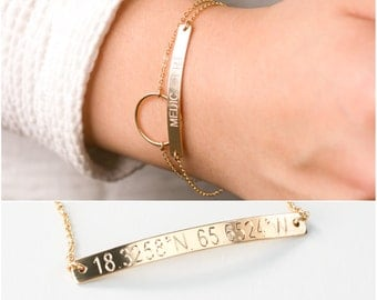 Custom Coordinates Bracelet, Personalized Coordinates Bar Bracelet, Gold Bar, Location Coordinates, Latitude Longitude, Custom Jewelry M440