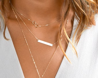 Layering Necklaces Set W. Gold Bar Necklace, Graduation Gift, Engraved Bar Necklace, Delicate Layering Necklace [Set- H430]