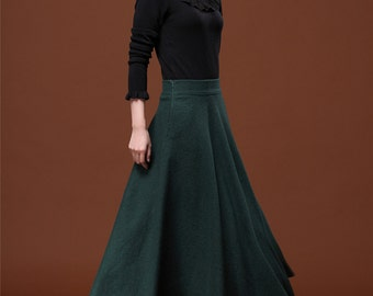 7 Colors Autumn Dark Green Wool Skirt Long Woolen Wool Party Skirt Evening Wedding Big Hem Dress Women Skirt Maxi Skirt Custom Size